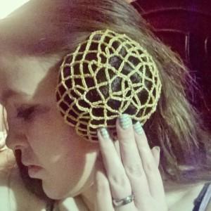Gold snood Bun Cover 2